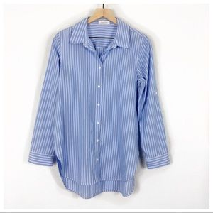 Calvin Klein Blue/White Stripe Button Up Shirt
